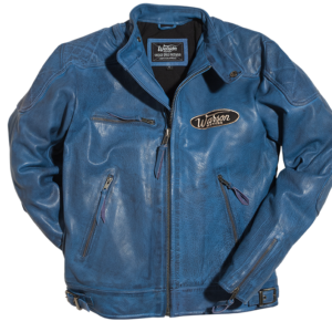 Motorcycle Leather Jacket Blue