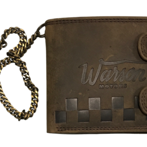 Wallet Horizontal with Buttons and Chain Brown Warson Motors