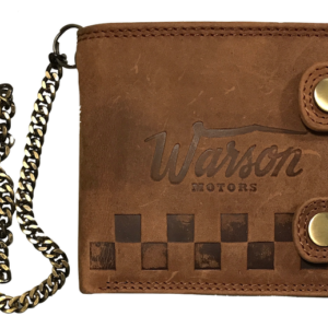 Wallet Horizontal with Buttons and Chain Tan Warson Motors